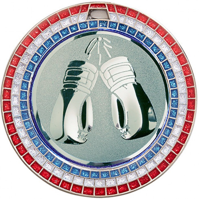 SILVER 70MM KICK BOXING MEDAL - GEM EFFECT